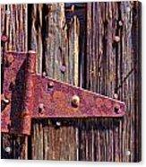 Rusty Barn Door Hinge  Acrylic Print by Garry Gay