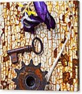 Rusty Key And Gear Acrylic Print