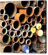 Rusty Steel Pipes Acrylic Print