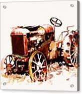 Rusty Tractor In The Snow Acrylic Print by Suni Roveto