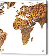 Rusty World Map Acrylic Print