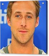 Ryan Gosling At The Press Conference Acrylic Print by Everett