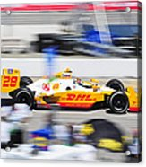 Ryan Hunter-reay Exiting Pit  Road Acrylic Print by Jarvis Chau