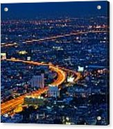 S Curve At Bangkok City Night Scene Acrylic Print by Arthit Somsakul