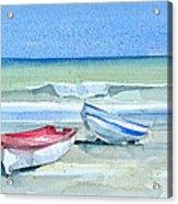 Sabinillas Fishing Boats Acrylic Print by Stephanie Aarons