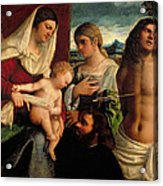 Sacra Conversatione With Ss Catherine Sebastian And Holy Family Acrylic Print