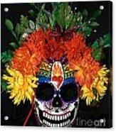 Sacred Heart Sugar Skull Mask Acrylic Print by Mitza Hurst