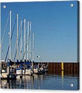 Sailboat Docking By Break Water Wall Acrylic Print