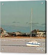 Sailboat In Frozen Hyannis Harbor On Cape Cod In Winter Acrylic Print