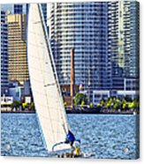 Sailboat In Toronto Harbor Acrylic Print