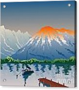 Sailboat Jetty  Mountains Retro Acrylic Print