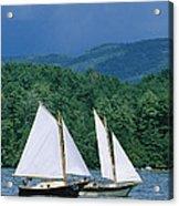 Sailboats And Darkening Sky, Lake Acrylic Print