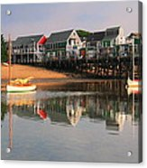 Sailboats And Harbor Waterfront Reflections Acrylic Print