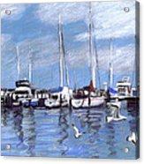 Sailboats And Seagulls Acrylic Print