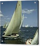 Sailboats Cross A Starting Line Acrylic Print