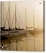 Sailboats In Golden Fog Acrylic Print