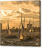Sailboats On Lake Ontario At Sunset Acrylic Print