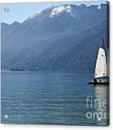 Sailing Boat And Mountain Acrylic Print