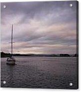 Sailing Boat At Sunset Acrylic Print