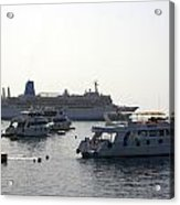 Sailing Boats And A Large Yacht In The Harbour At Sharm El Sheikh Acrylic Print