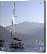 Sailing Boats At Dawn In Karacaoren Bay Acrylic Print