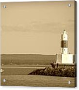 Sailing By The Marquette Presque Isle Lighthouse Acrylic Print by Mark J Seefeldt