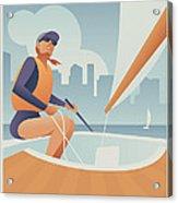 Sailing Lake Union In Seattle Acrylic Print