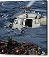 Sailors Attach Pallets Of Supplies Acrylic Print