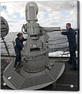 Sailors Conduct Maintenance On The Mk38 Acrylic Print
