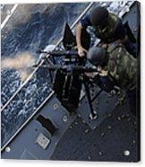 Sailors Fire A Dual-mounted M240 Acrylic Print