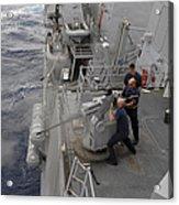 Sailors Fire A Mark 38 Machine Gun Acrylic Print