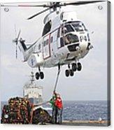 Sailors Hook Up A Pole Pendant Acrylic Print by Stocktrek Images