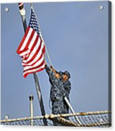 Sailors Lower The National Ensign Acrylic Print