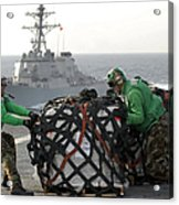 Sailors Move Supplies On The Flight Acrylic Print