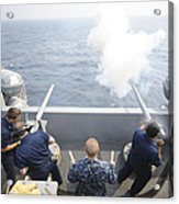 Sailors Perform A 21-gun Salute Aboard Acrylic Print by Stocktrek Images
