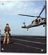 Sailors Prepare To Board An Mh-60s Sea Acrylic Print