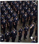 Sailors Stand At Attention During An Acrylic Print