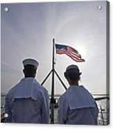 Sailors Stand By To Lower The Ensign Acrylic Print