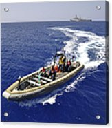 Sailors Transit An Inflatable Boat Acrylic Print