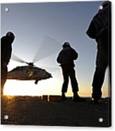 Sailors Watch A Helicopter Lift Acrylic Print