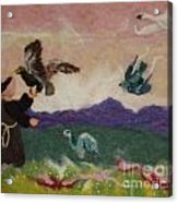 Saint Francis And The Birds Acrylic Print by Nicole Besack