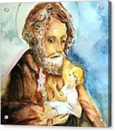 Saint Joseph And Child Acrylic Print by Myrna Migala