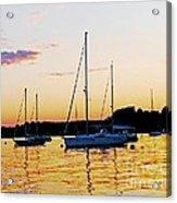 Salem Harbor Amber Sunset Acrylic Print