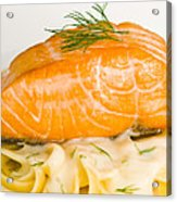 Salmon Steak On Pasta Decorated With Dill Closeup Acrylic Print