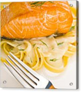 Salmon Steak On Pasta Decorated With Dill Acrylic Print