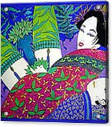 Samurai And Geisha Pillowing Acrylic Print