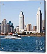San Diego Skyline And Tour Boat Acrylic Print