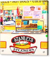 San Francisco - Stanley's Steamers Hot Dog Stand - 5d17929 - Square - Painterly Acrylic Print by Wingsdomain Art and Photography