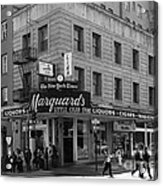 San Francisco Marquards Little Cigar Store Powell Street - 5d17950 - Black And White Acrylic Print by Wingsdomain Art and Photography