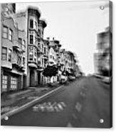 San Francisco Side Street-black And White Acrylic Print